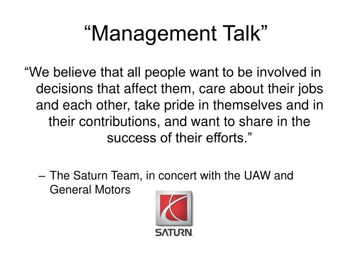 """Management Talk"""