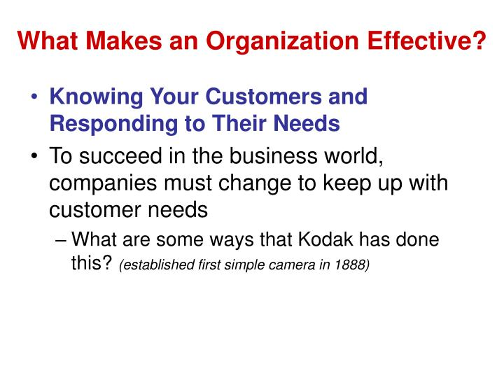 What Makes an Organization Effective?