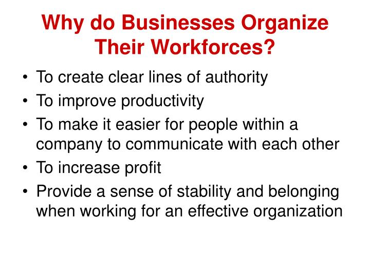 Why do Businesses Organize Their Workforces?