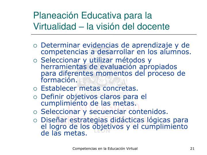 Planeación Educativa para la Virtualidad – la visión del docente