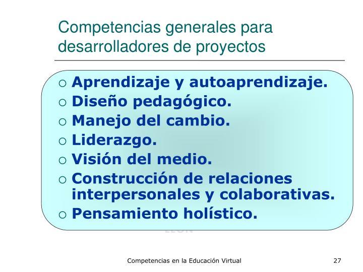 Competencias generales para desarrolladores de proyectos
