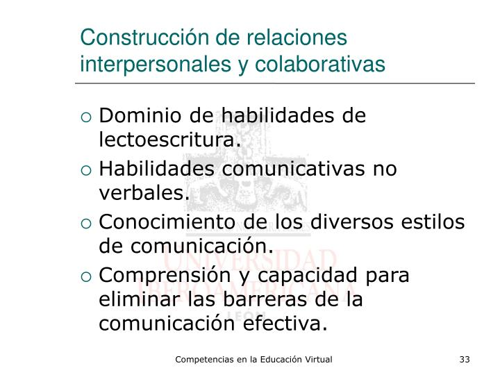Construcción de relaciones interpersonales y colaborativas
