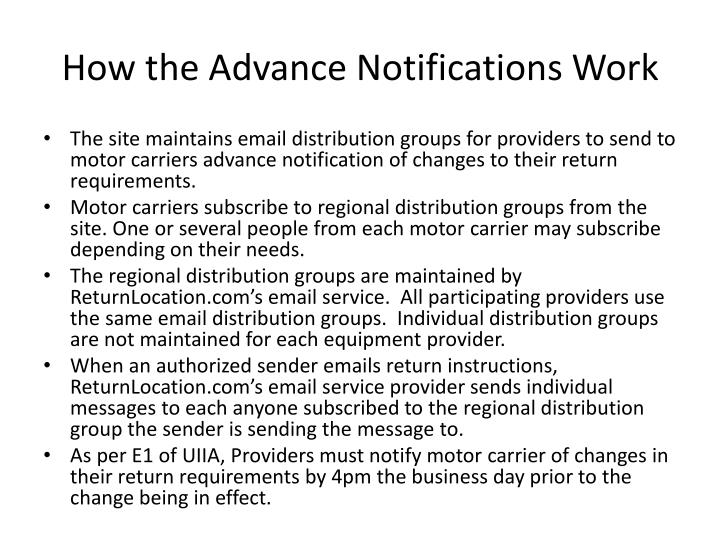 How the Advance Notifications Work