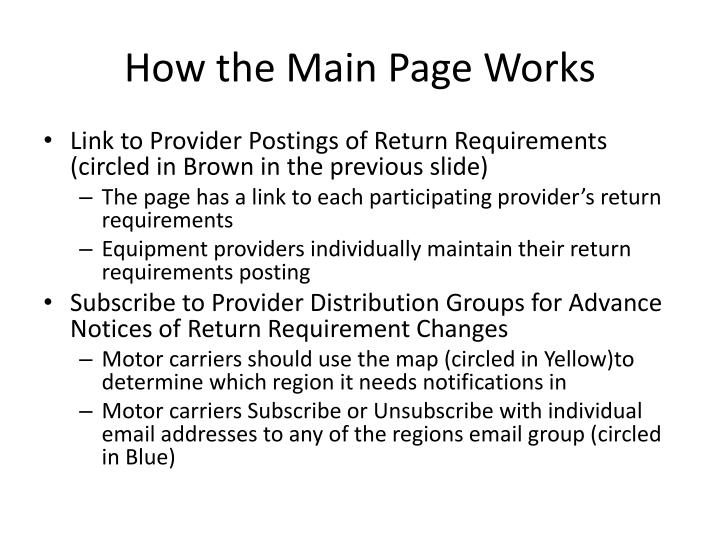 How the Main Page Works
