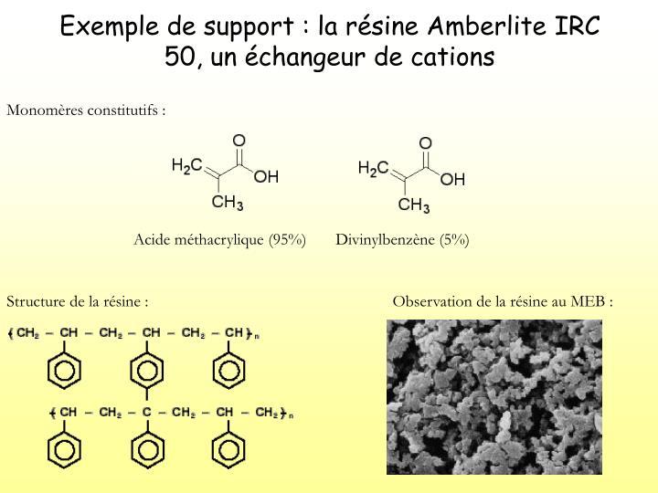 Exemple de support : la résine Amberlite IRC 50, un échangeur de cations