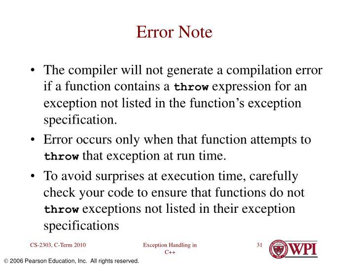 Error Note