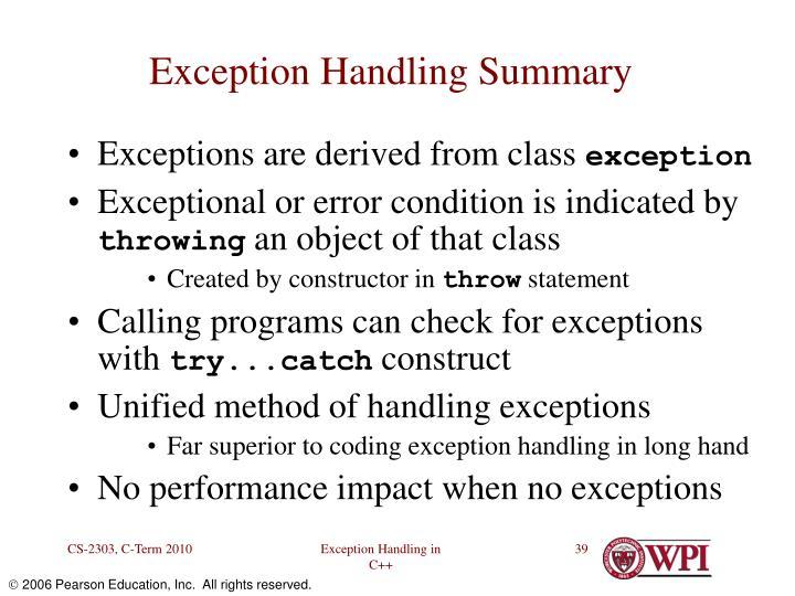 Exception Handling Summary