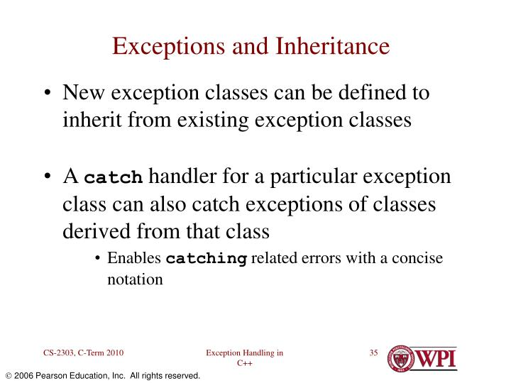 Exceptions and Inheritance