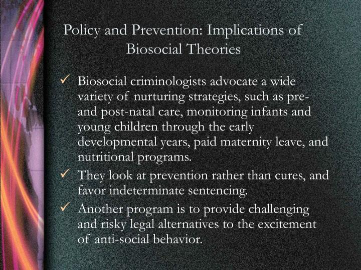 Policy and Prevention: Implications of Biosocial Theories
