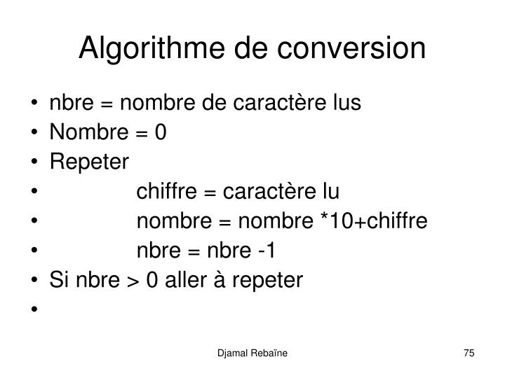 Algorithme de conversion