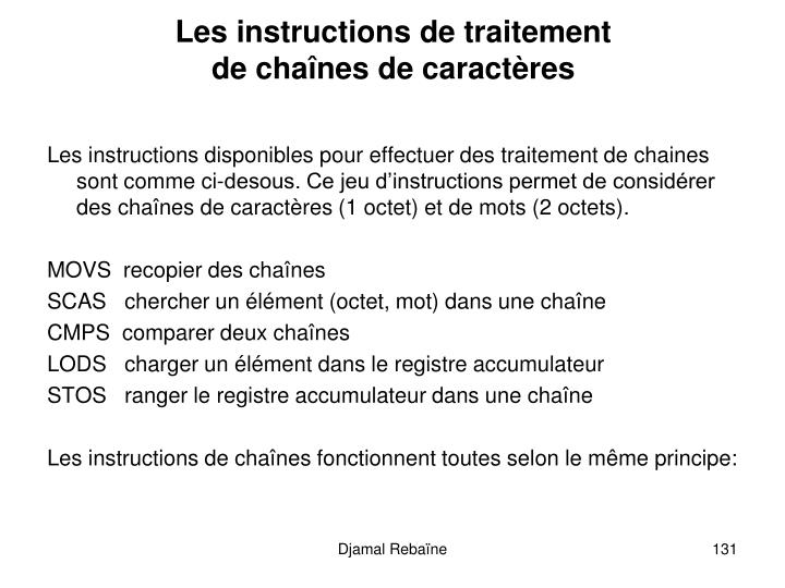 Les instructions de traitement