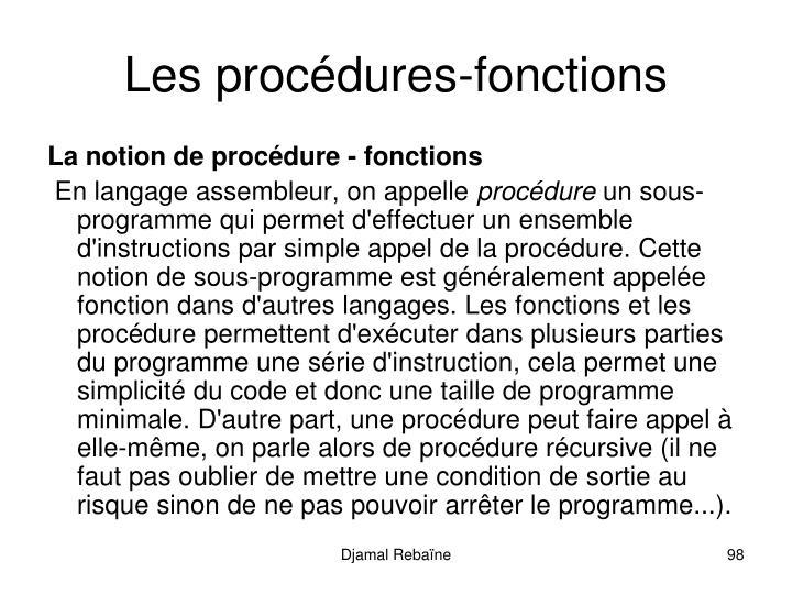 Les procdures-fonctions