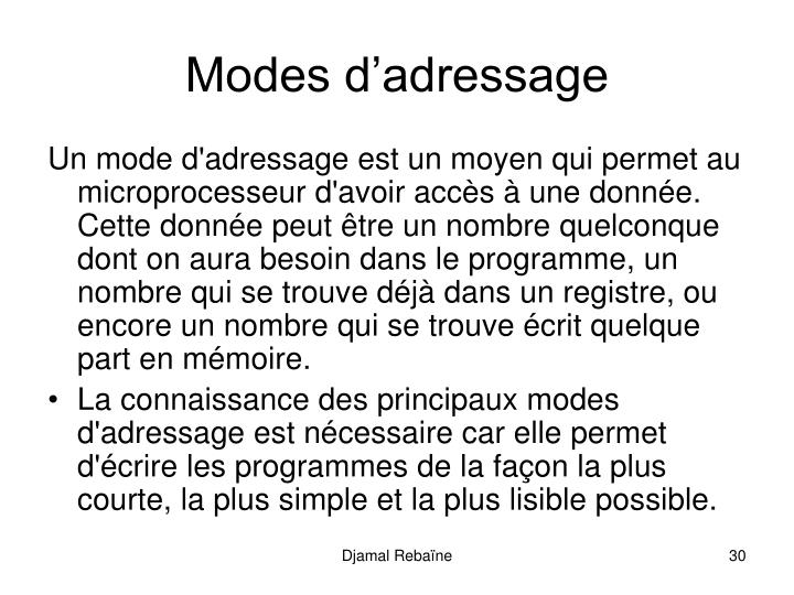 Modes dadressage