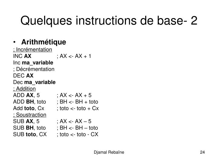Quelques instructions de base- 2