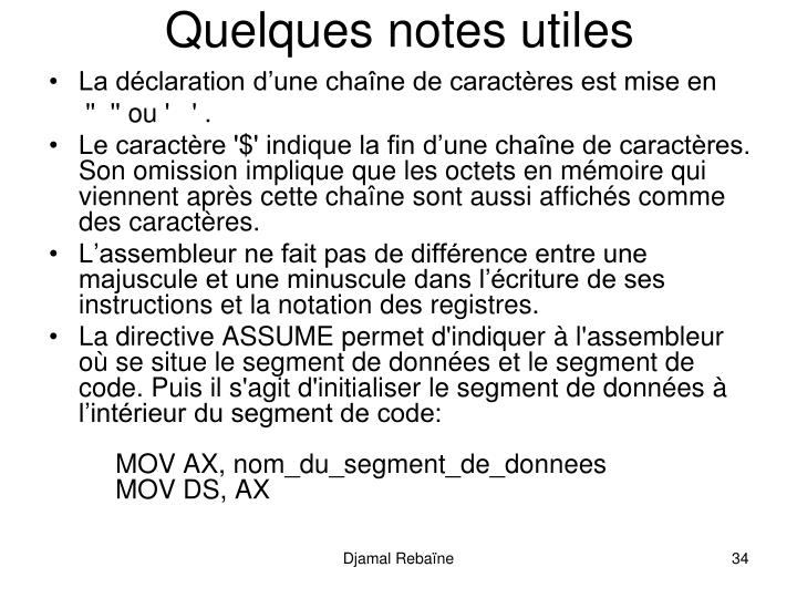 Quelques notes utiles