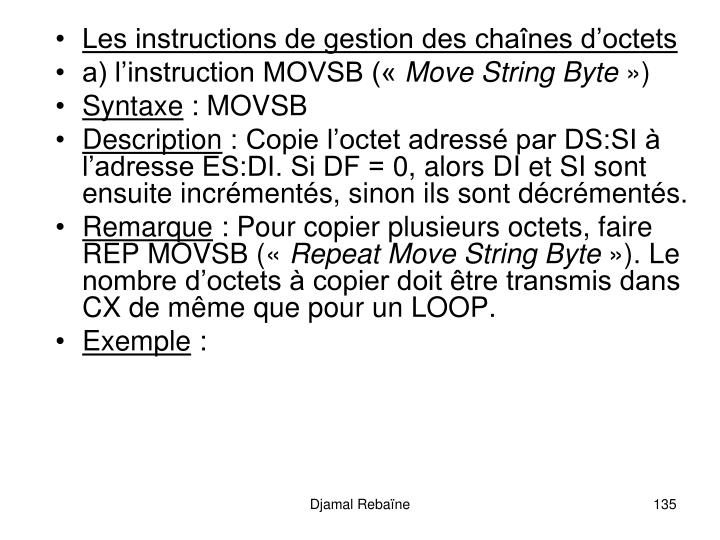 Les instructions de gestion des chanes doctets