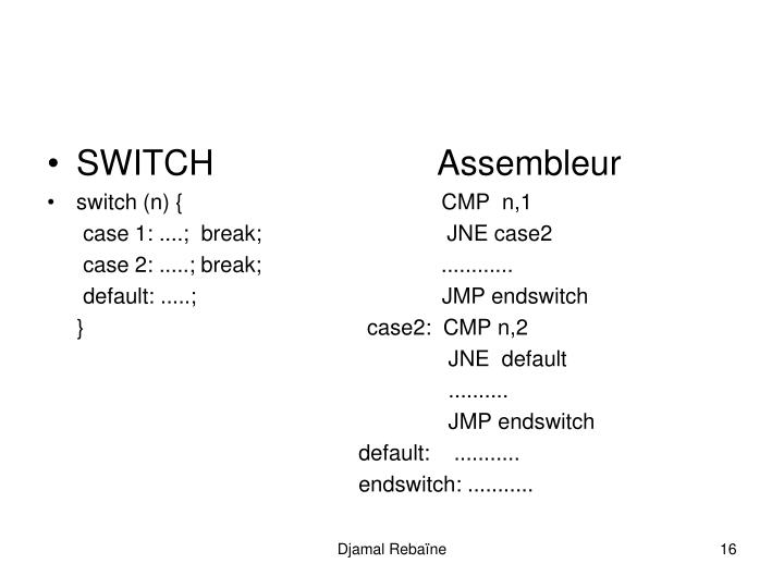 SWITCH                       Assembleur