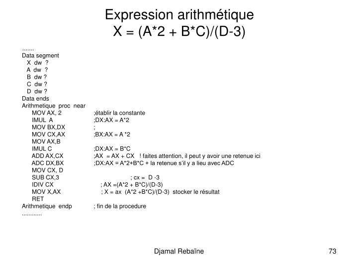 Expression arithmétique