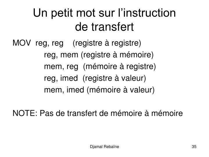 Un petit mot sur l'instruction
