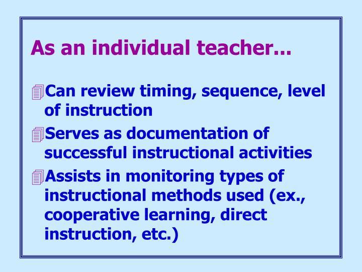 As an individual teacher...