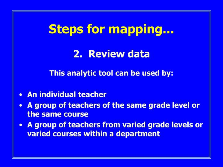 Steps for mapping...