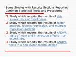 some studies with results sections reporting common statistical tests and procedures