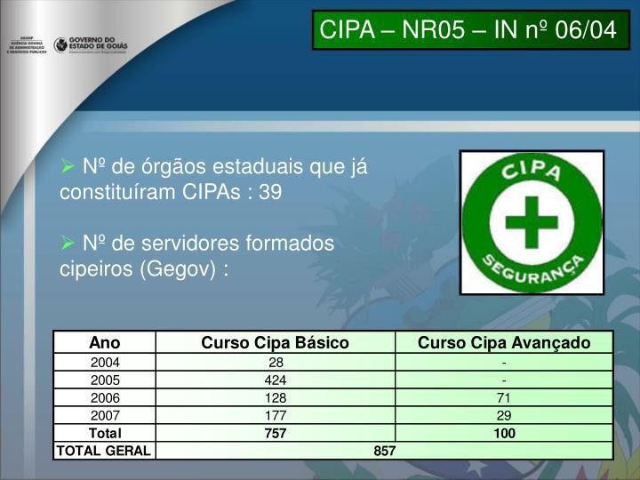 CIPA – NR05 – IN nº 06/04