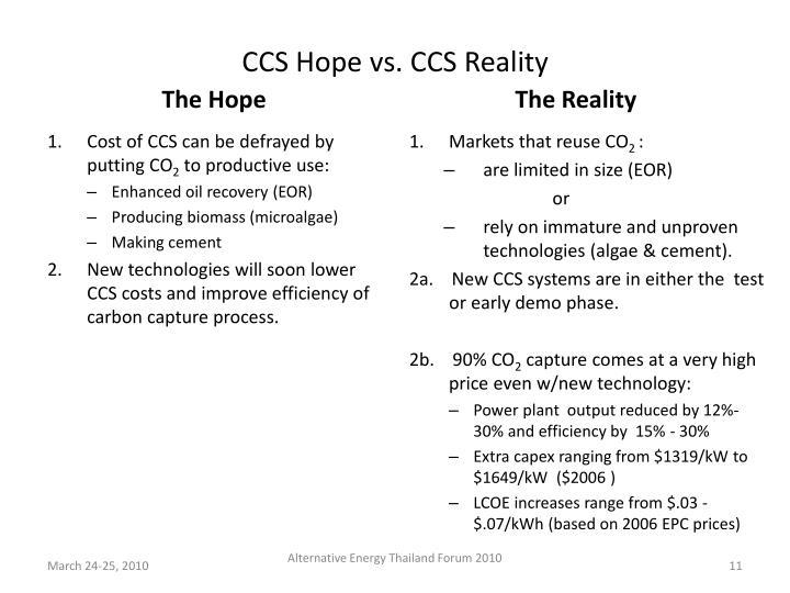 CCS Hope vs. CCS Reality