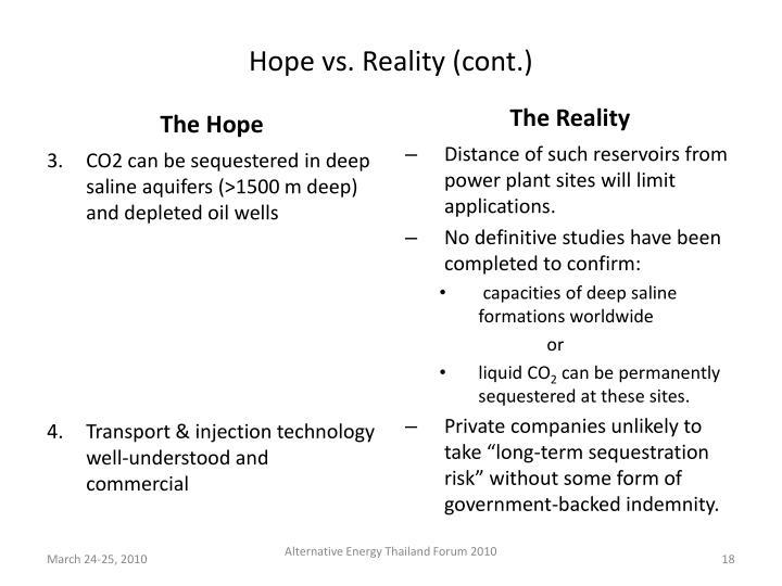 Hope vs. Reality (cont.)