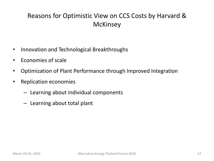 Reasons for Optimistic View on CCS Costs by Harvard & McKinsey