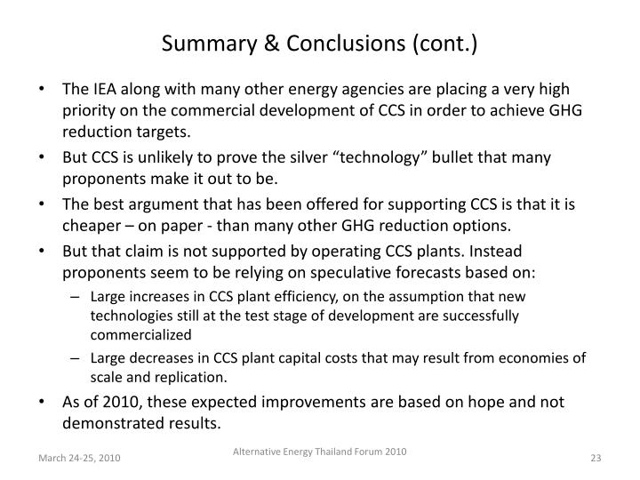 Summary & Conclusions (cont.)