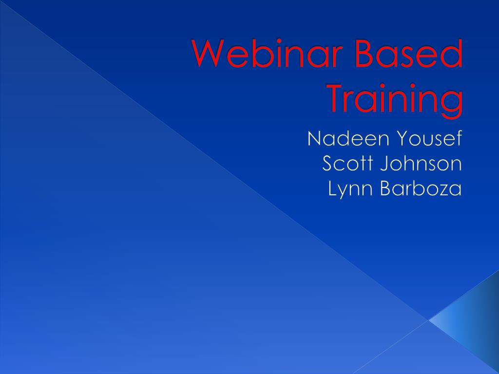 Webinar Based Training