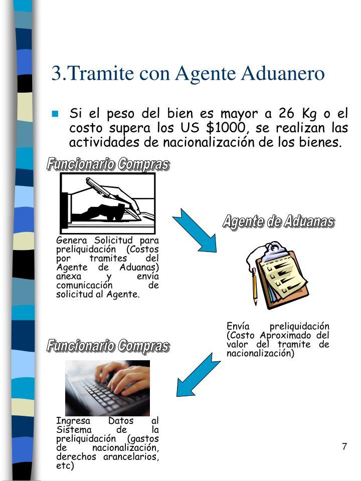 3.Tramite con Agente Aduanero