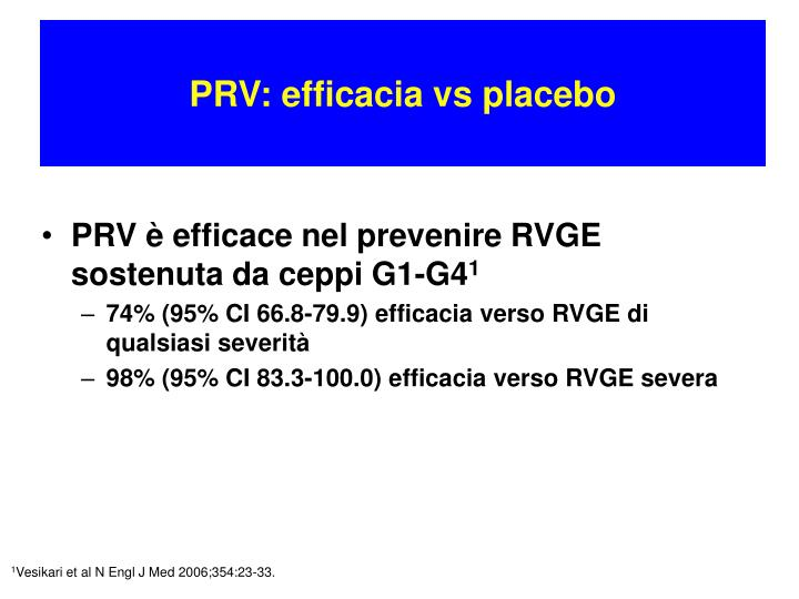 PRV: efficacia vs placebo