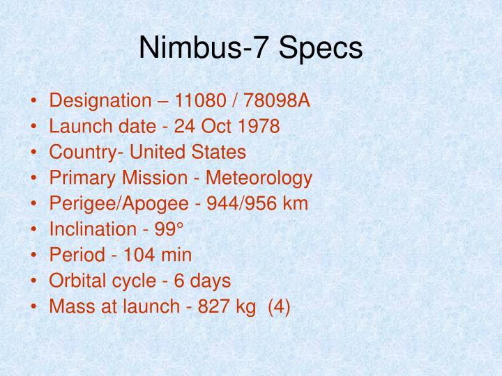 Nimbus-7 Specs