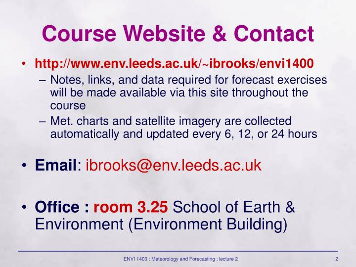 Course website contact