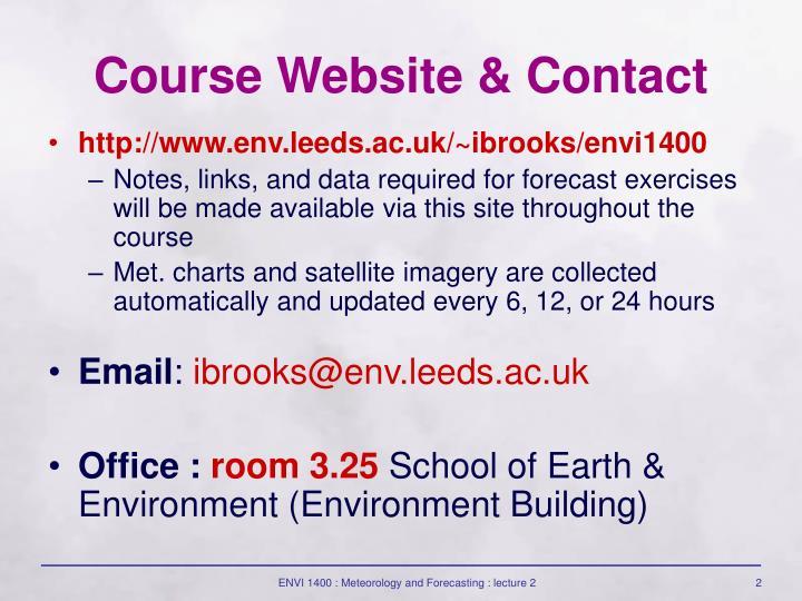 Course Website & Contact