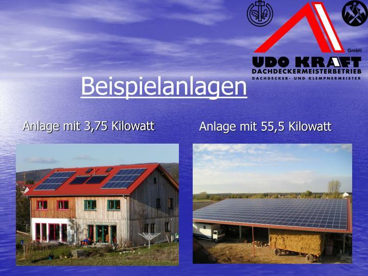 Anlage mit 3,75 Kilowatt
