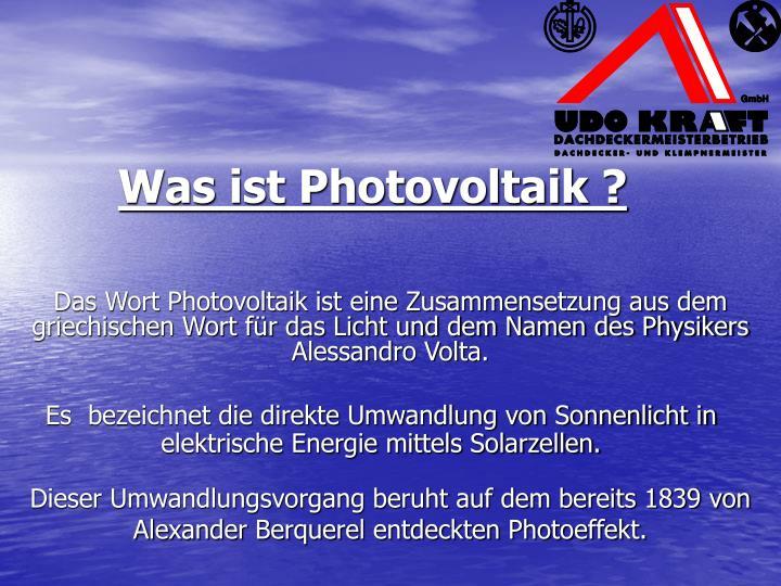 Was ist Photovoltaik ?