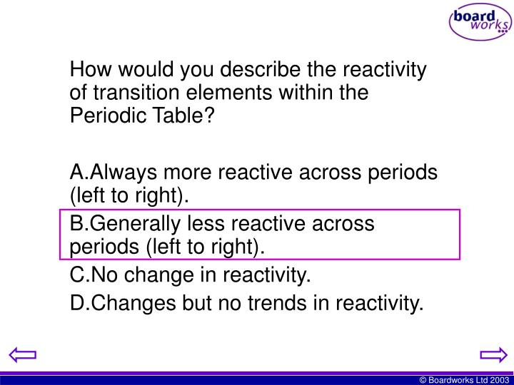 How would you describe the reactivity of transition elements within the Periodic Table?