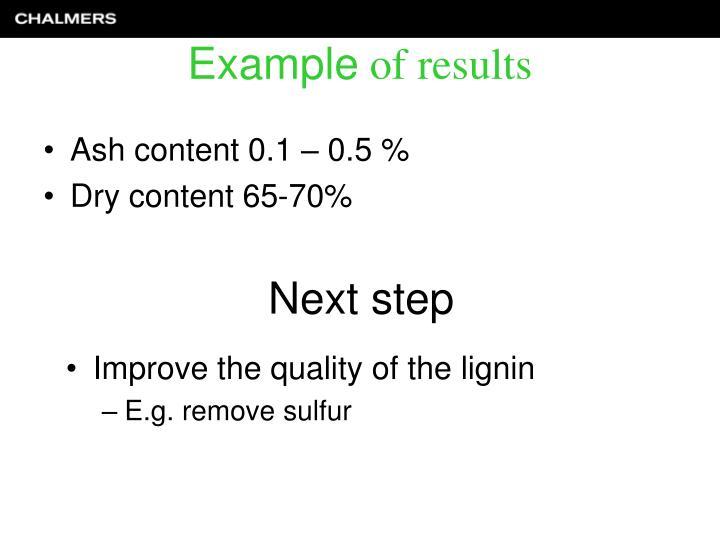 Ash content 0.1 – 0.5 %