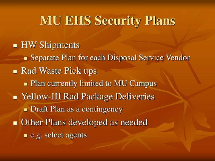 MU EHS Security Plans