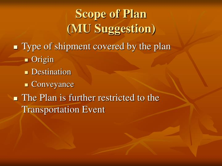Scope of Plan