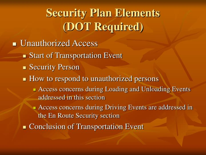 Security Plan Elements