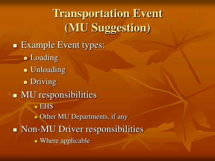 Transportation Event