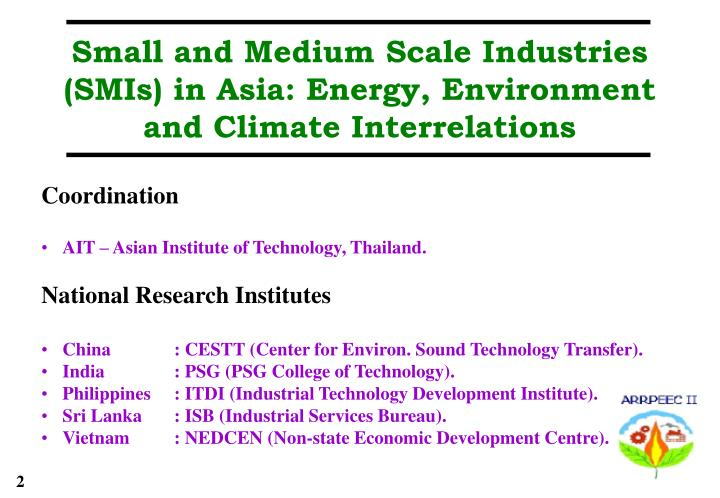 Small and Medium Scale Industries (SMIs) in Asia: Energy, Environment and Climate Interrelations