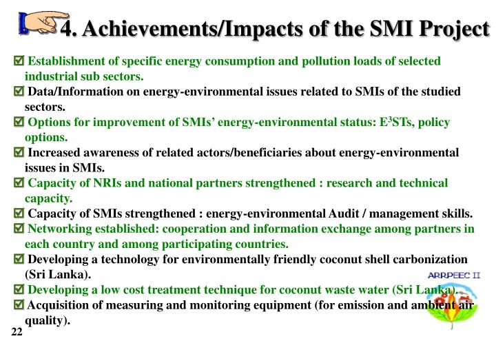4. Achievements/Impacts of the SMI Project