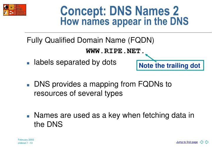Concept: DNS Names 2