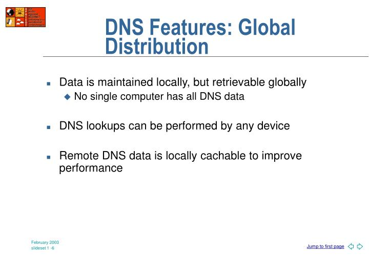 DNS Features: Global Distribution
