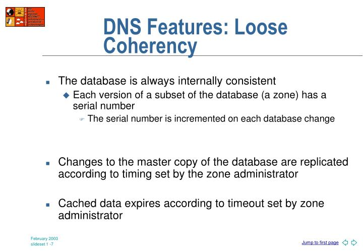 DNS Features: Loose Coherency